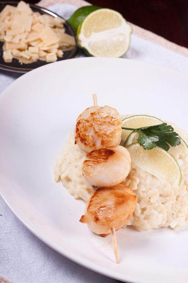 Recette risotto classique bouillon de poule, parmesan, et noix de saint jacques,
