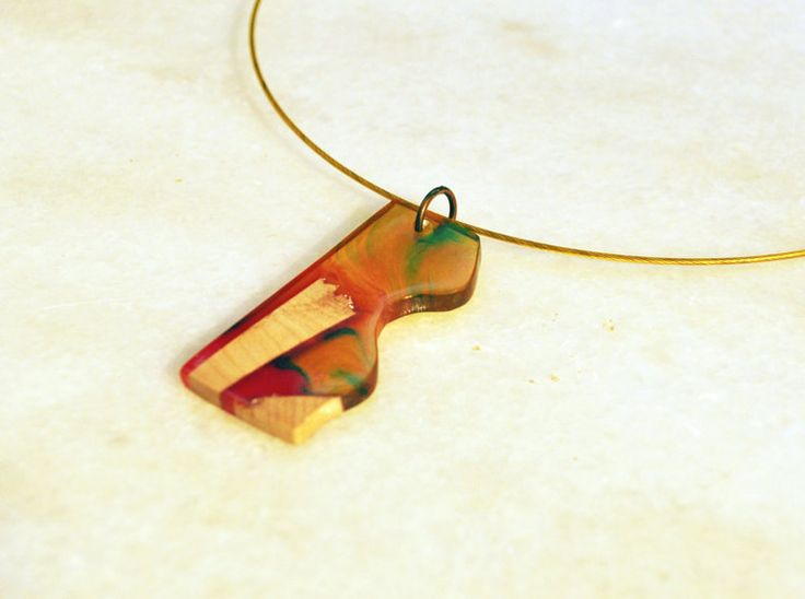 Multi Colour Resin Necklace Olive Wood Necklace Resin by MavouShop