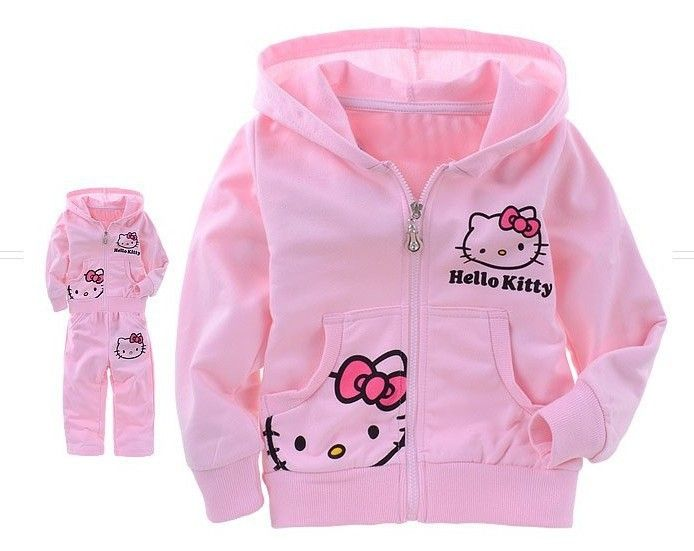 Retail 2014 new hello kitty clothing sets, autumn -summer, children hoodies+pants set for new year, pink, Free Shipping $11.60 - 13.00