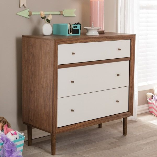 Baxton Studio Harlow Mid-century Modern Scandinavian Style White and Walnut Wood 3-drawer Chest | Overstock.com Shopping - The Best Deals on Kids' Dressers