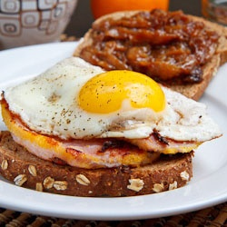 Peameal Bacon Breakfast Sandwich with Maple Caramelized Onions and a Fried Egg...  site like craftgawker.... many recipes connecting to many foodie sites