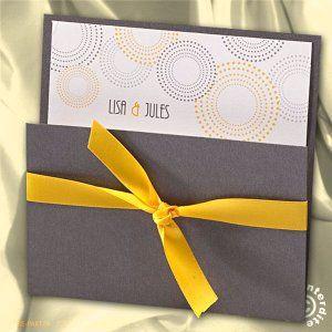 Faire-part mariage pochette gris et jaune
