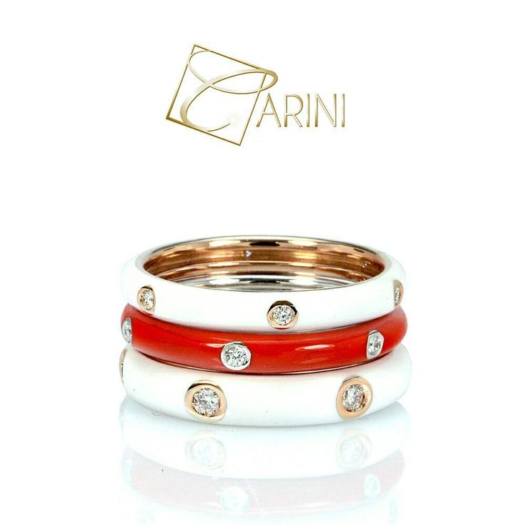Gold rings with colored enamel cover and a row of diamonds embedded in the entire circumference . A sophisticated and exclusive model for those who love playing with colors, there is the embarrassment of choice! #carinigioielli #beatiful #jewel #jewellery #jewelrydesign #jeweldiamond #design #creative #accessorize #woman #fashionjewelry #ilove #weddingband #musthave #girly #igers #lovejewelry #detailsoftheday #lovedetails #todaysoutfit #ootdfashion #ootdstyle #ootdlovers #casuallook