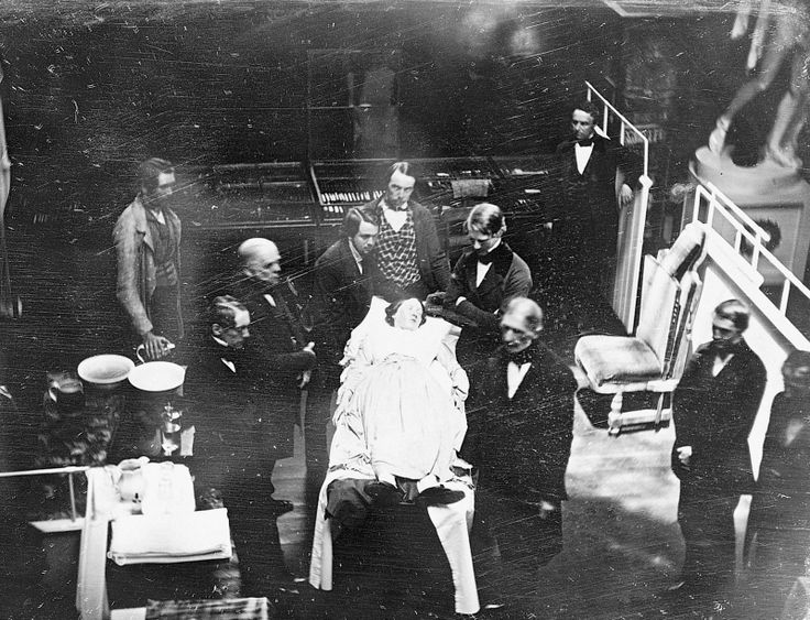 PHOTOGRAPHY~ JOSIAH JOHNSON HAWES and ALBERT SANDS SOUTHWORTH, Early Operation under Ether, Massachusetts General Hospital, ca. 1847. Daguerreotype. Massachusetts General Hospital Archives and Special Collections, Boston.