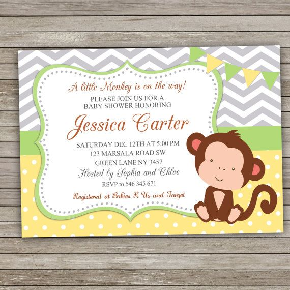 Monkey Baby Shower Invitation Monkey Shower by RainbowSweetStudio
