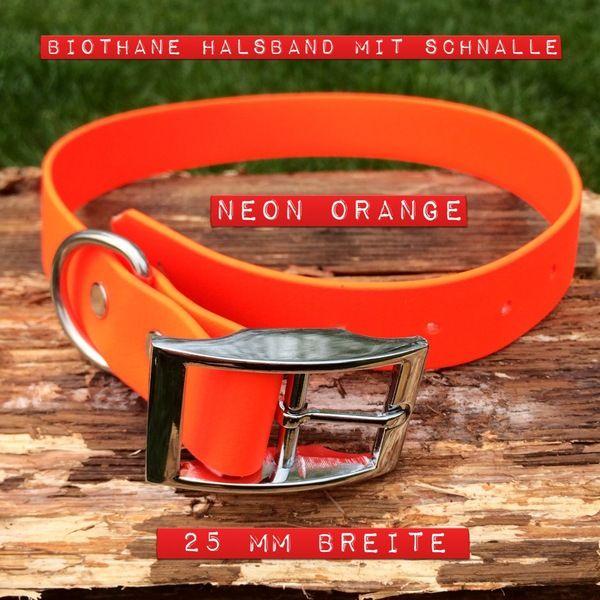 Hund: Halsbänder - Hundehalsband BIOTHANE in schwarz und neon-orange - ein Designerstück von CollarandLeash bei DaWanda