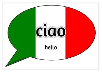 With a title poster, here is a set of 20 printable posters that show common words and phrases in Italian. Words and phrases are displayed in speech bubbles as a symbol of the Italian flag. Visit our TpT store for more information and for other classroom display resources by clicking on the provided links.