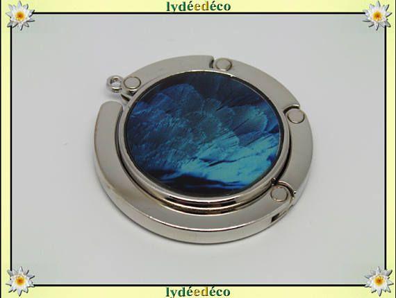 Accroche sac a main Plume de paon métal et resine motif tons