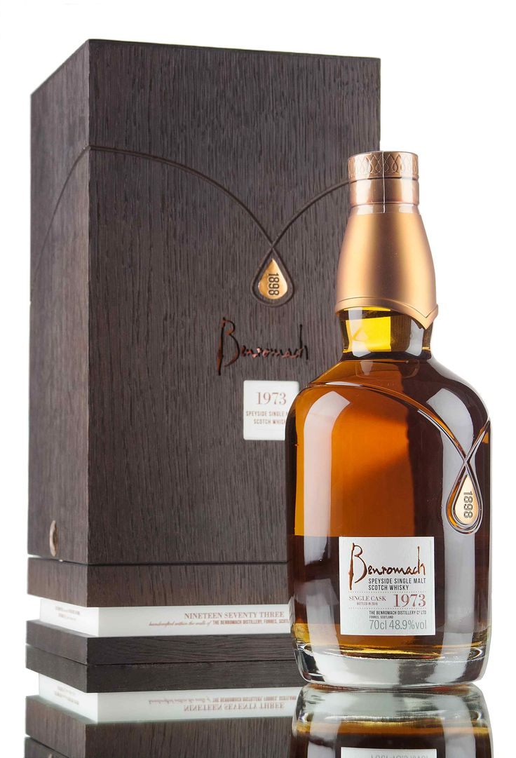 An ultra rare single cask bottling from Benromach, with only 52 bottles filled from cask #4606. Distilled in 1973 and left to mature for 42 years in a refill hogshead before finally being bottled in 2016 at cask strength, 48.9%. A UK exclusive, beautifully presented in wooden presentation box and decanter style bottle.
