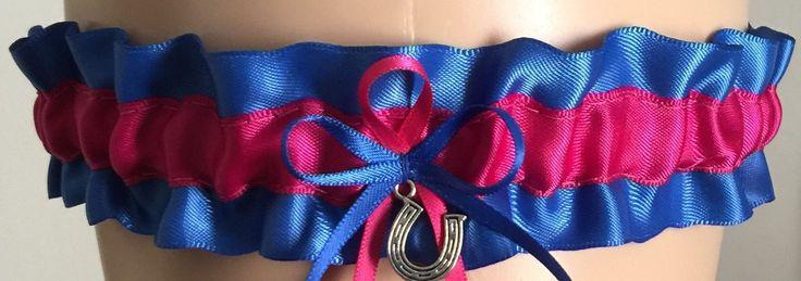 Royal Blue and Fuchsia Pink Wedding Garter, Bridal Garter