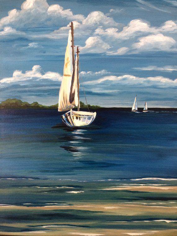e588f79ef Sailboat Painting, original acrylic water, ocean, sea, scenery, blue sky,  clouds, boat, sailboat