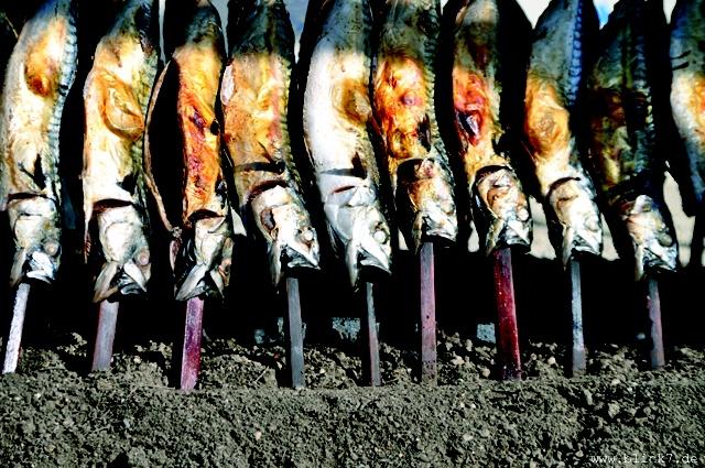 Steckerlfisch über Holzkohle gegrillt #Fisch #Bayerrn #Oktoberfest