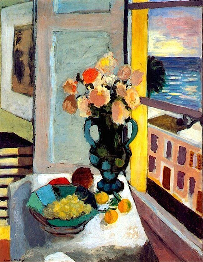 Henri Matisse - Fauvisme - Roses devant une fenêtre, 1925