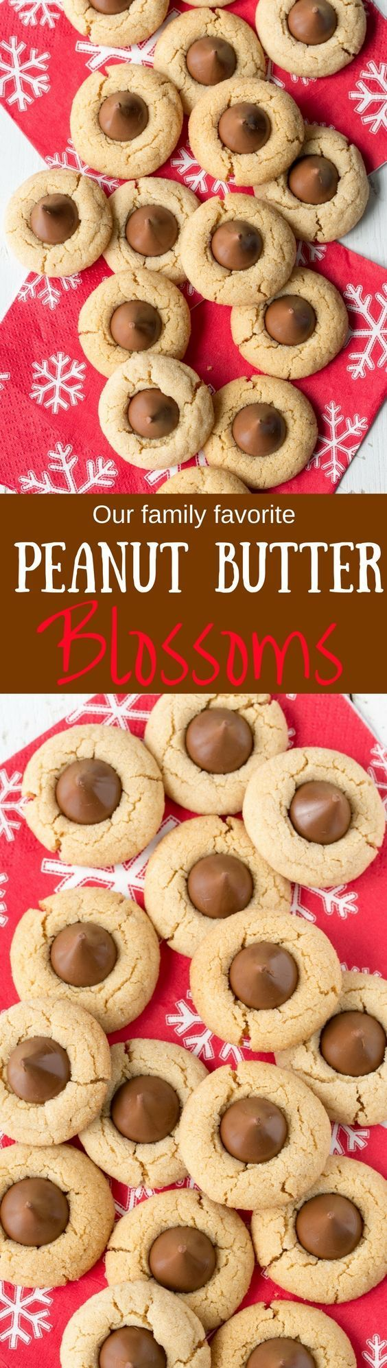 Chocolate kisses - Peanut Butter Blossoms - our holiday family favorite! from www.savingdessert.com