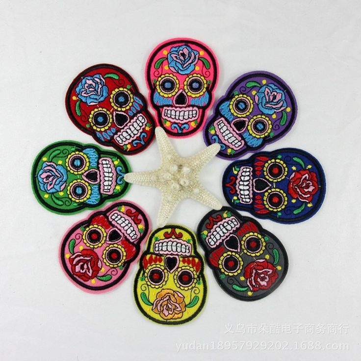 Aliexpress.com : Buy 5PCs Iron On Patches Clothes DIY Flowered Skull Embroidered Patches For Clothing Fabric Badges Sewing Patches from Reliable clothes bleach suppliers on Retraces Time
