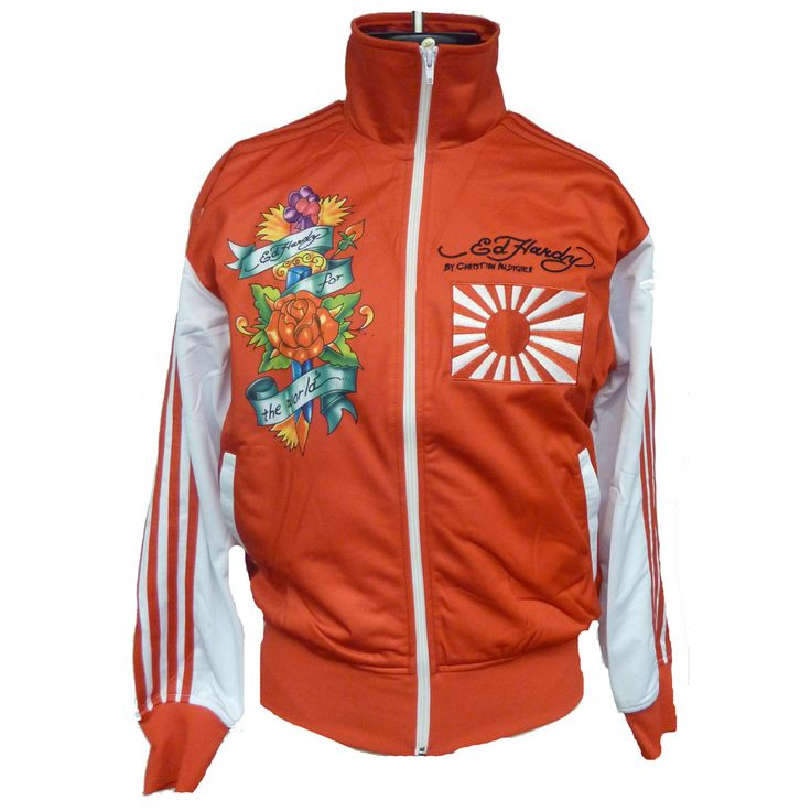 Ed Hardy Mens Embroidered Track Jacket – Red