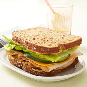 400 Calorie Lunch Ideas (Smoked Turkey Sandwich with Chipotle Mayo shown.)
