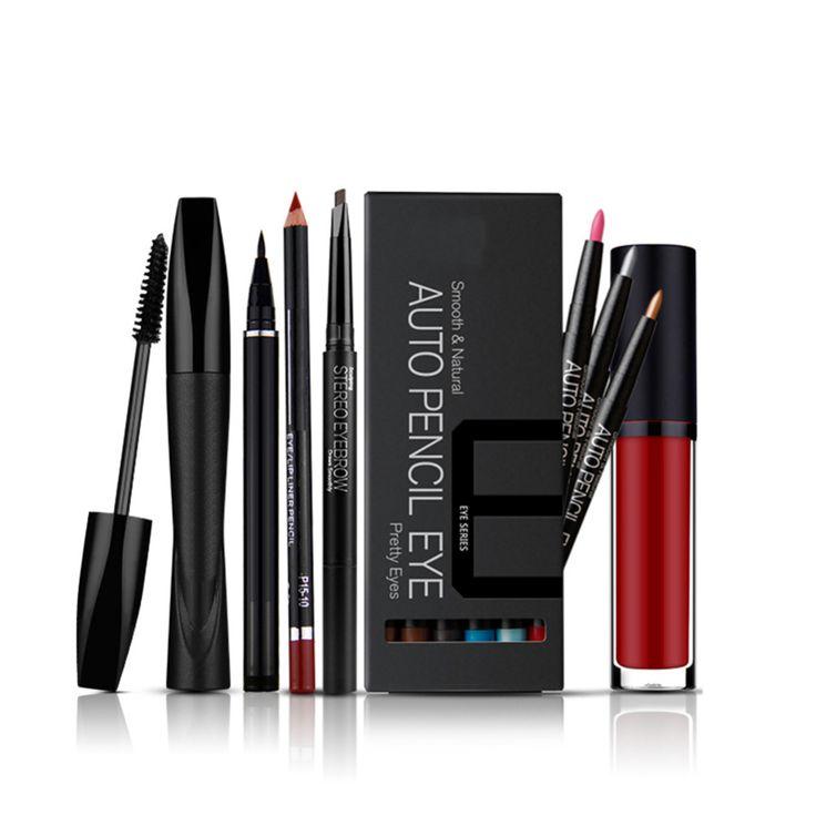 Cosmetics Set:Auto-revolving Eyebrow Enhancer+Liquid Eyeliner+Lip liner +Thick and Curling Mascara+12 colours Eyeshadow+Lipgloss