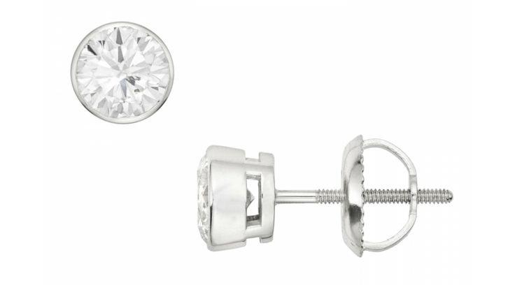 1 Carat Diamond Stud 14K White Gold Bezel Set Earrings - Stud Earrings - Gifts