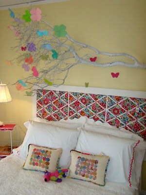 Headboard made out of three Vera Bradley bulletin boards. What a great idea!