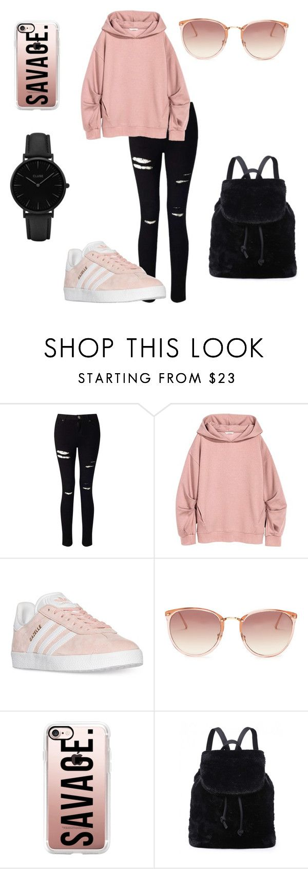"""Pink urban style "" by dsslv ❤ liked on Polyvore featuring Miss Selfridge, adidas, Linda Farrow, Casetify and CLUSE"