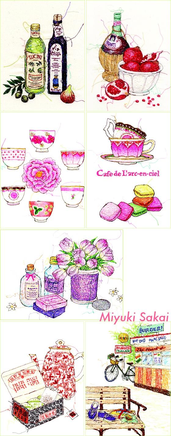 Embroidered illustrations by Miyuki Sakai