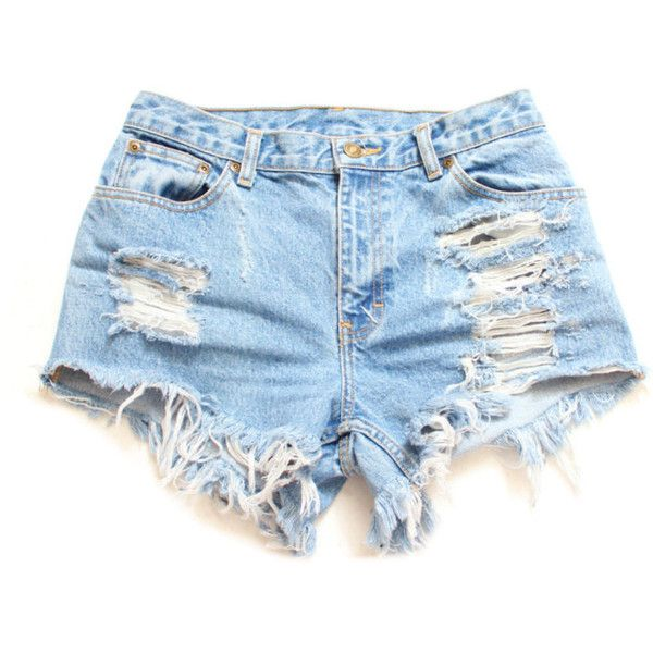 All Sizes Destroyed Ripped Trashy Distress Daisy Dukes Custom Made... ($40) ❤ liked on Polyvore featuring shorts, bottoms, short, pants, vintage shorts, short jean shorts, distressed shorts, plus size denim shorts and plus size shorts