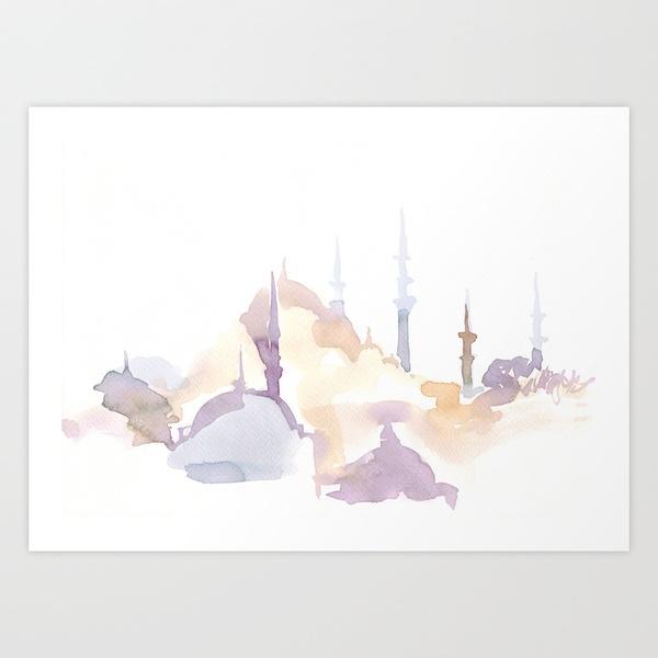 Watercolor landscape illustration - Istanbul