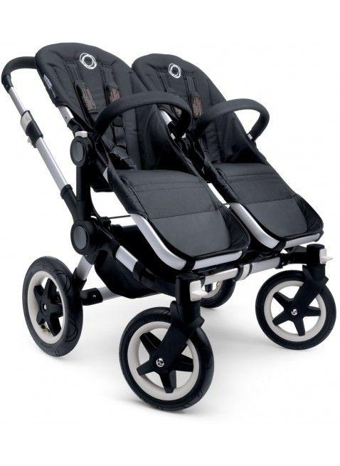 Bugaboo Donkey Twin Zwillingskinderwagen Set Silber / black. Mehr Infos auf https://www.kleinefabriek.com/.