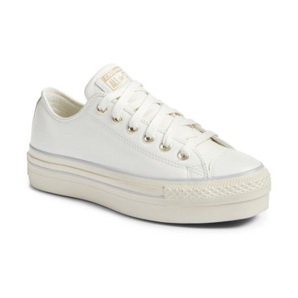 Women's Converse Chuck Taylor All Star Platform Sneaker ($70) ❤ liked on Polyvore featuring shoes, sneakers, star white leather, converse trainers, converse shoes, star sneakers, chunky sneakers and converse sneakers