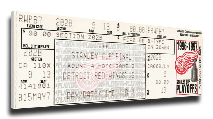 Detroit Red Wings Wall Art - 1997 NHL Stanley Cup Finals Canvas Mega Ticket
