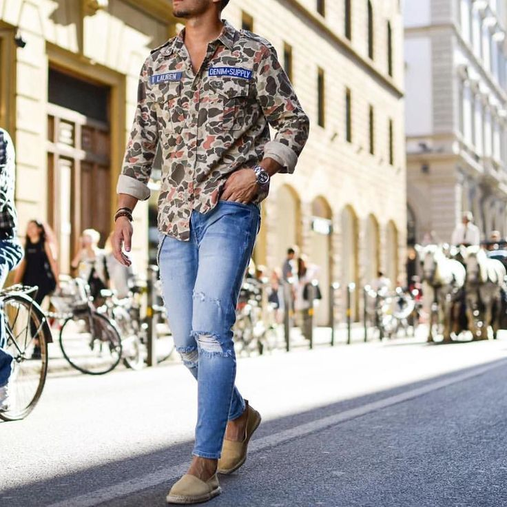 @denimandsupplyrl #camouflage shirt jeans and tan #espadrille by @sandro [ http://ift.tt/1f8LY65 ]