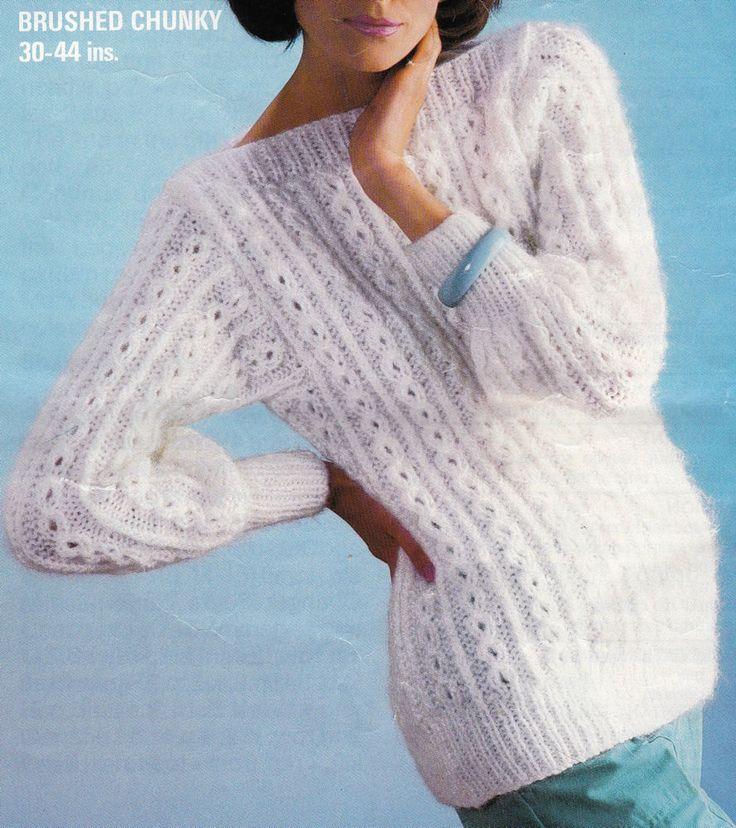 Vintage Knitting Pattern Ladies Chunky Wool Jumper 4 Sizes (30-44)  Bust