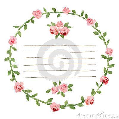 Dirigez le cadre rond d aquarelle avec des roses et des éléments de feuillage Frontière florale d aspiration de main