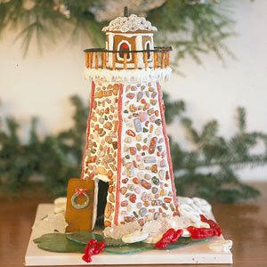 turn a regular holiday tradition into an ocean-themed one by making a gingerbread lighthouse