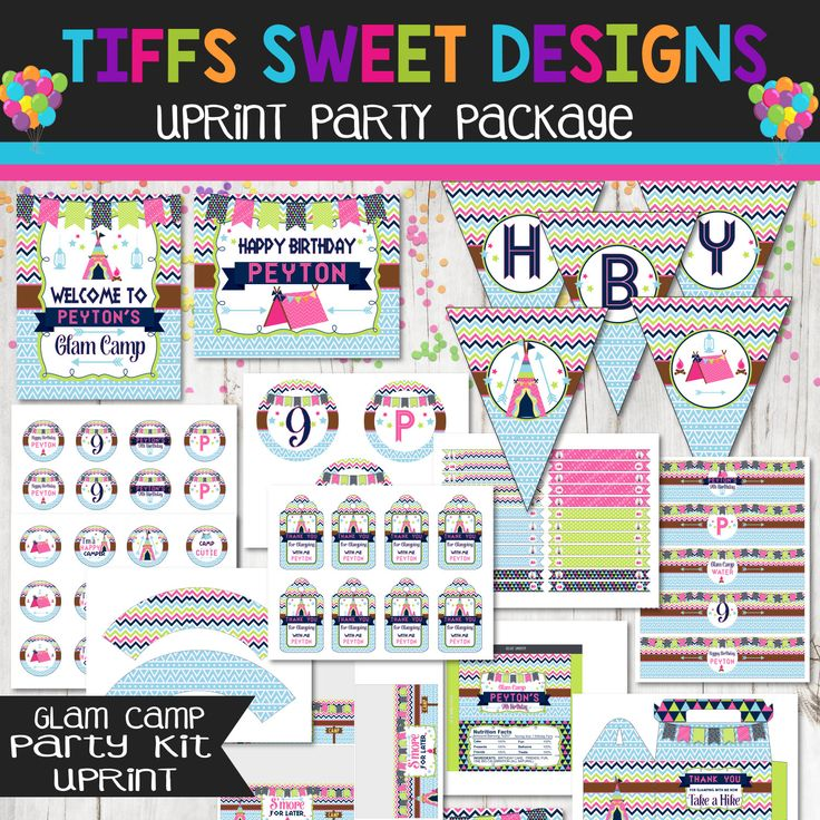 Glam Camp Party Package - Glamping Party Kit - Girls Camping Party - Sleepover Party by TiffsSweetDesigns on Etsy https://www.etsy.com/listing/441513213/glam-camp-party-package-glamping-party