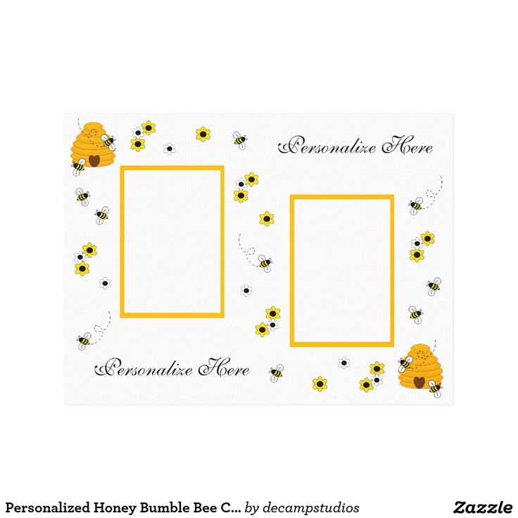 Personalized Honey Bumble Bee Canvas Wall Art Print For Baby Girl Nursery Or Childrens Bedroom Decor