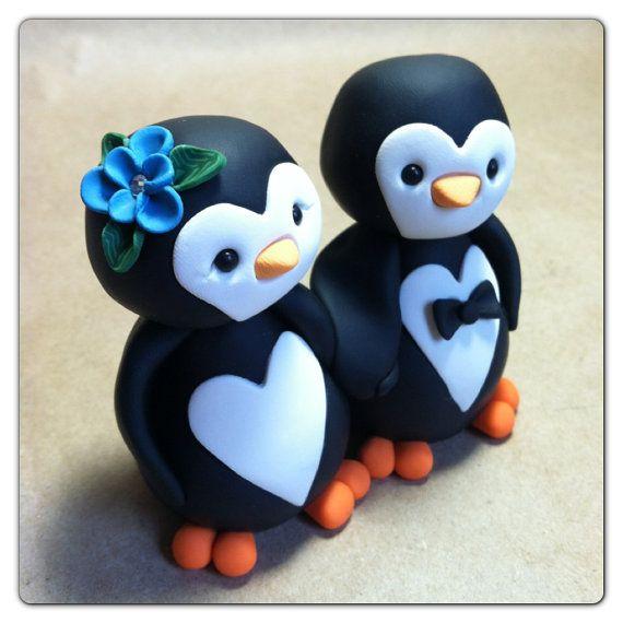 Penguin love Wedding Cake Topper ... Too Cute :)