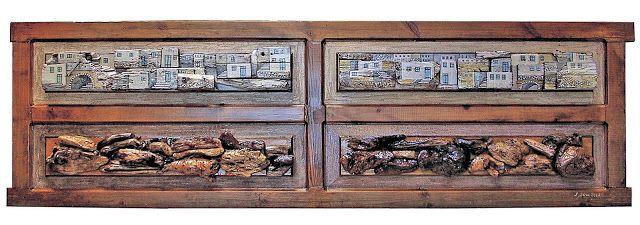 """οικισμοί 01 """"πρώτη πύλη"""" 1,76m X 52,5cm και βάρος 500gr παλιά ξύλινη πόρτα ντουλάπας, ζωγραφισμένη με ακρυλικά χρώματα, κατασκευή 2004"""