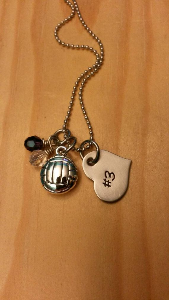 Volleyball necklace. Volleyball gift https://www.etsy.com/listing/223542725/hand-stamped-volleyball-necklace-girls