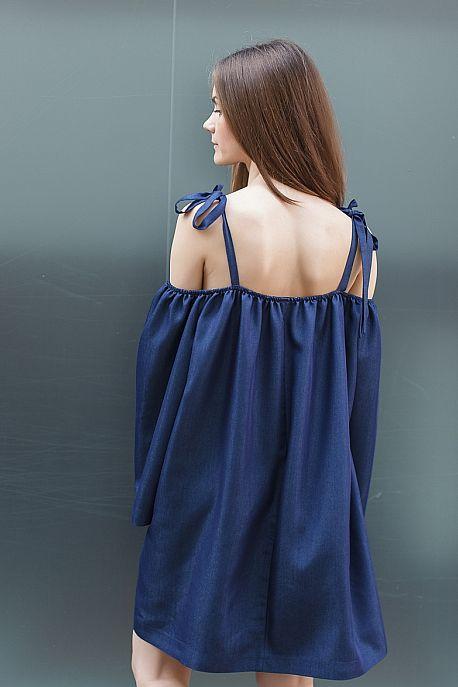 Джинсовое платье one size