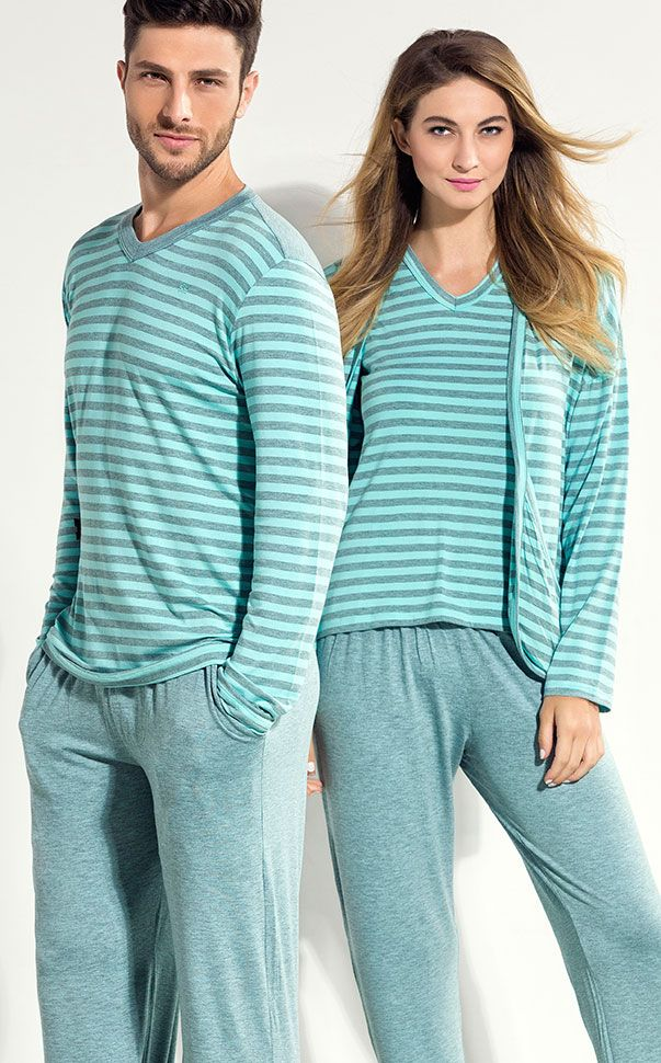 Ref. 8081 / 7964 PERFECT FOR AFTER WORK! Linha Modal com Lycra, listrados melange exclusivos. MIXTE PIJAMAS • Fall - Winter 2016