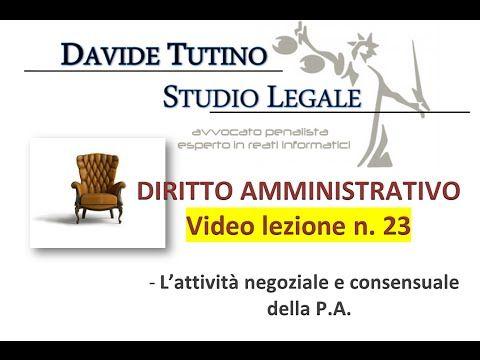 Diritto Amministrativo Video lezione n.23 : L'attività negoziale e conse...
