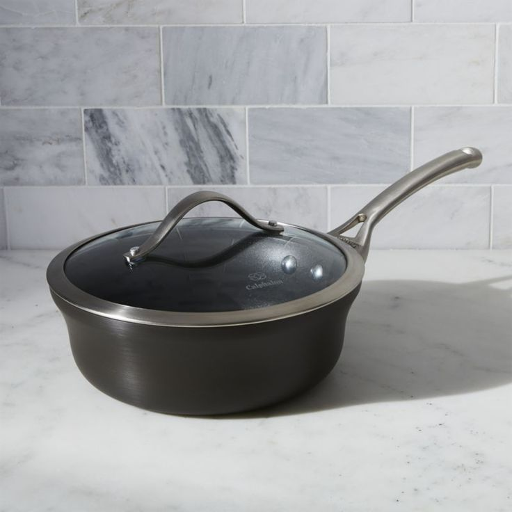 Shop Calphalon Contemporary ™ Non-Stick 2. 5 qt.  Shallow Saucepan with Lid.  A unique contemporary shape in hard-anodized, heavy-gauge aluminum.  Saucepan with nonstick finish heats evenly and cleans easily.