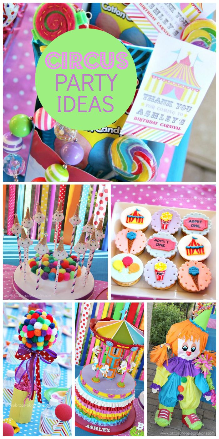 What a great circus birthday party with clowns, cake pops and a pinata! See more party ideas at CatchMyParty.com!