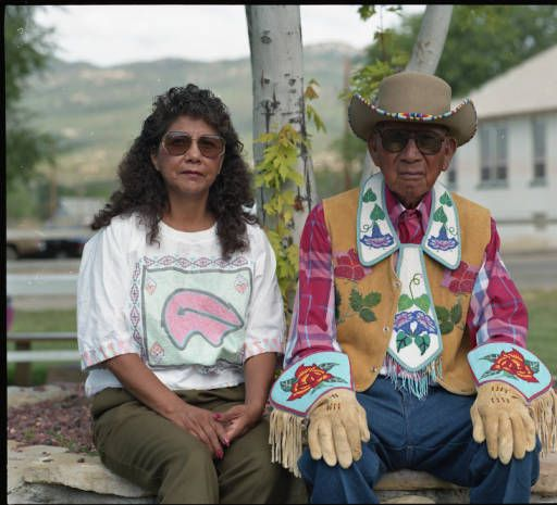 Charlie Night and unidentified woman of Southern Ute Indian Tribe :: Lee Marmon Pictorial Collection, 1949-1999