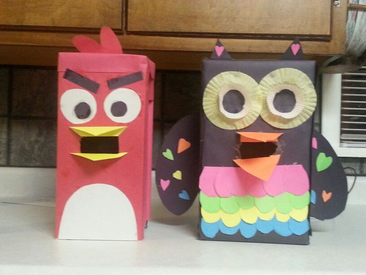 Angry bird and owl Valentine's day boxes