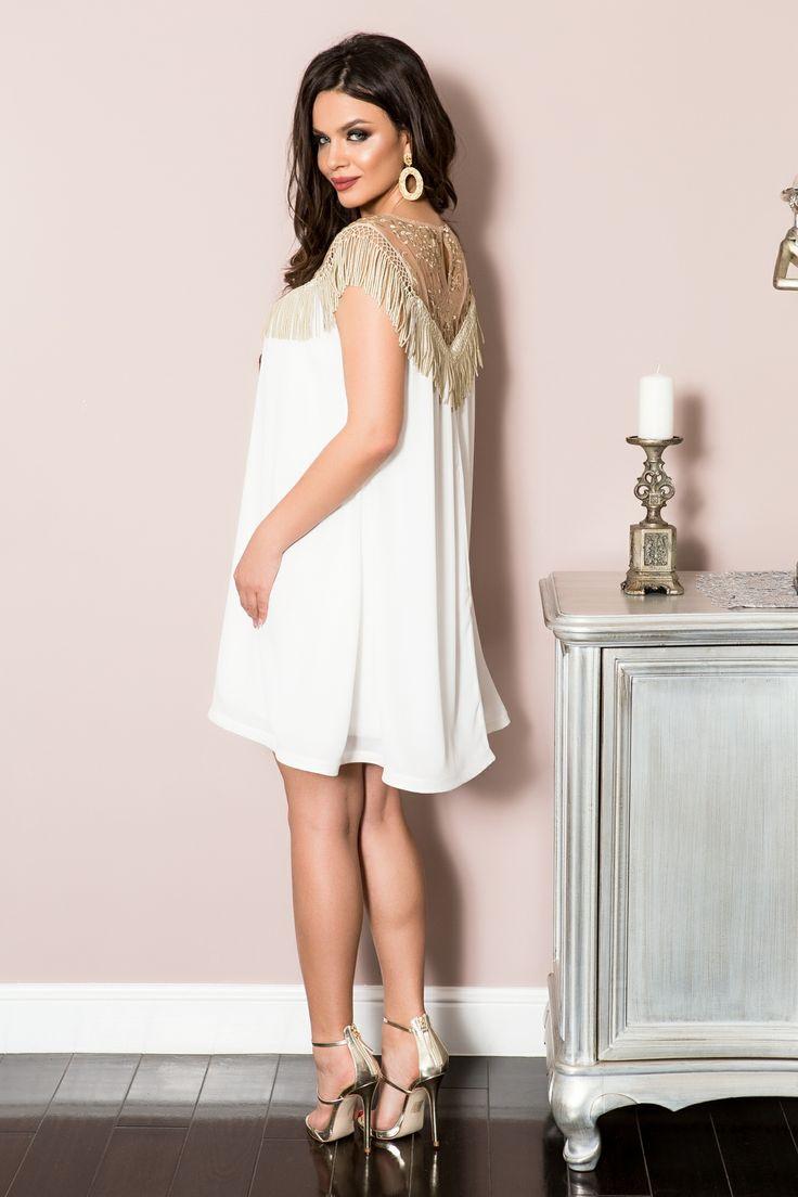 Rochie cu franjuri aurii | Madelia Fashion - Magazin online haine și rochii de damă