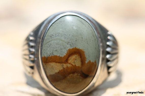 Vintage Signed Navajo Style Sterling Silver Bruneau Canyon Agate Jasper Men's Ring -New Old Store Stock