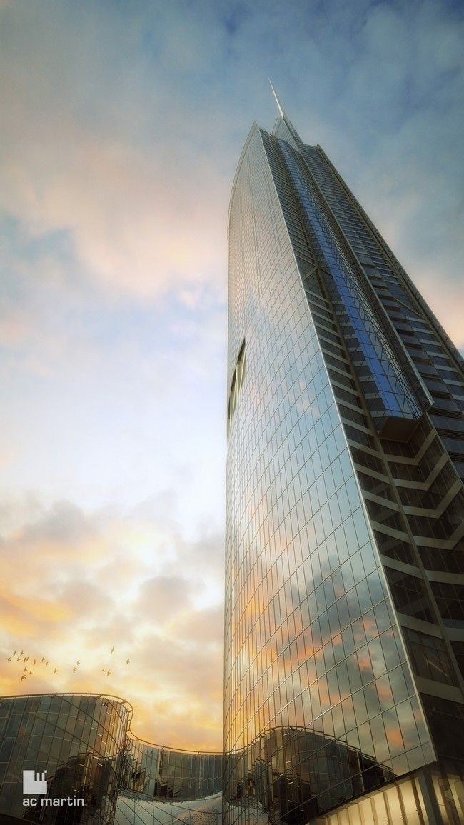 The new Wilshire Grand tower in Los Angeles Estimated completion date: 2017